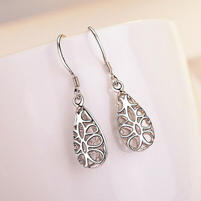Solid 925 Silver Hollow Earrings For Women Fashion Jewelry Christmas Gift