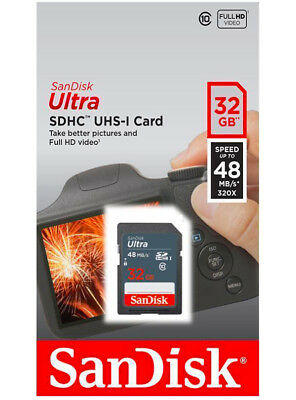 SanDisk 32GB Ultra SDHC SD Card Class 10 UHS-I Memory Card 48MB/S For Camera