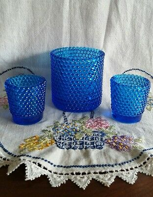 Blue Glass Hobnail Candle Holders Set of 3