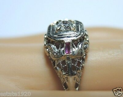 Antique Art Deco Diamond Filigree Engagement 18K White Gold EGL USA Ring Sz 5.75
