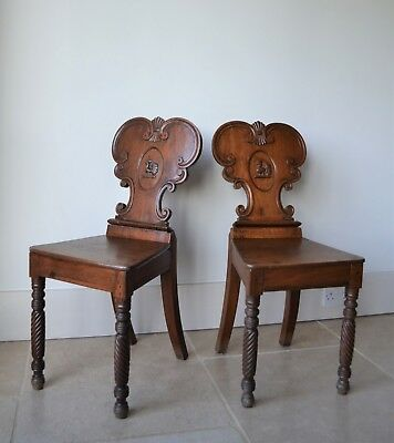 A Pair of 19th Century Irish Mahogany Hall Side Table Bedroom Kitchen Chairs Two