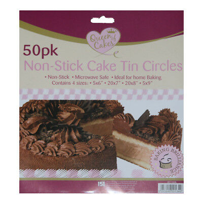 Circle Cake Tin Liners Assorted Sizes Non Stick Round Grease Proof Baking Sheets