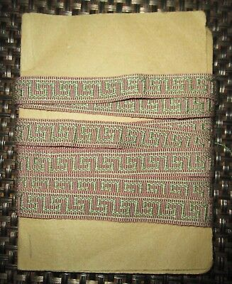 Vintage French Silk Or Silk-Like Pink Green Vestment Trim Unused - 53 Inches