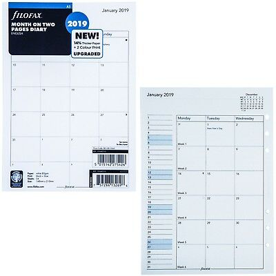 2019 Filofax A5 Size Refill 19-68510, Month On Two Pages, 148mm x 210mm