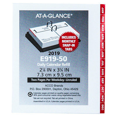 """2019 At-A-Glance E919-50 Compact Daily Calendar Refill With Tabs 2-7/8 x 3-3/4"""""""