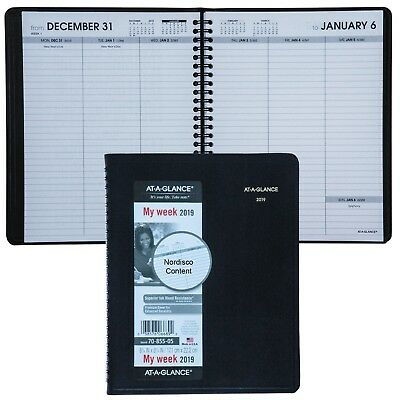 """2019 At-A-Glance 70-855 Weekly Planner With No Appointment Times, 6-3/4 x 8-3/4"""""""