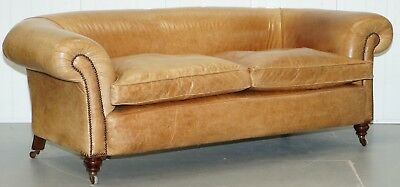 1 Of 2 Victorian Brown Leather Sofas Stamped Back Leg Coil Sprung Feather Filled
