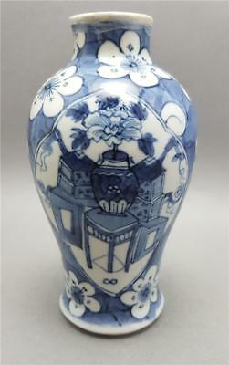 Antique 19Th Century Chinese Blue And White Kangxi Prunus Blossom Vase Signed