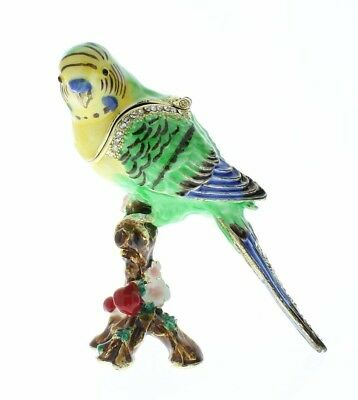 Parakeet Budgerigar Budgie Bird Jeweled Swarovski Crystal Trinket Box