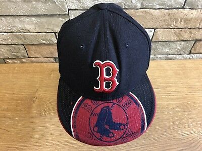 BOSTON RED SOX Cap Size 8 New Era MLB Authentic 59 FIFTY Snap Back Hat Black Red