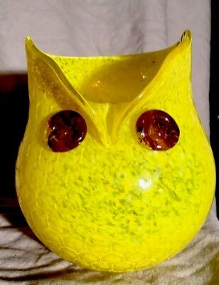 Murano Glass Owl Hand Blown With Fused Eyes Pitcher Or Figurine Honeycomb