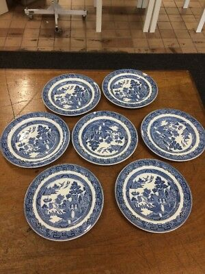 7x Wedgewood Willow Pattern Plates - Good Condition