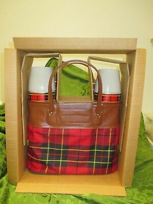 NIB/Vintage Plaid Carry Bag w/Plastic Box & 2 Thermoses 1964 King Steely USA