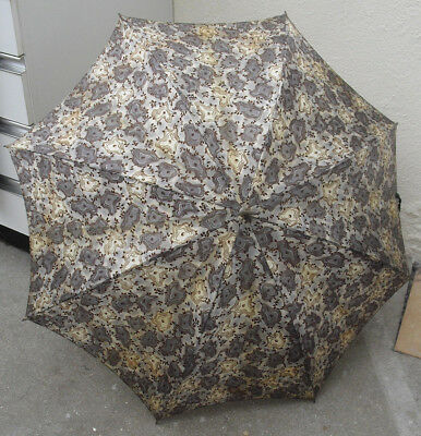 1950s silk umbrella brown abstract pattern long swan neck handle parasol style