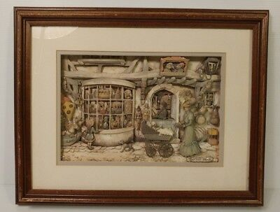 Anton Pieck 3D Shadow Box Framed Toy Store Art Vintage