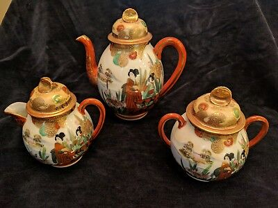Antique Vintage Japanese Kutani Tea Service Set (Teapot, Creamer, Sugar) Signed