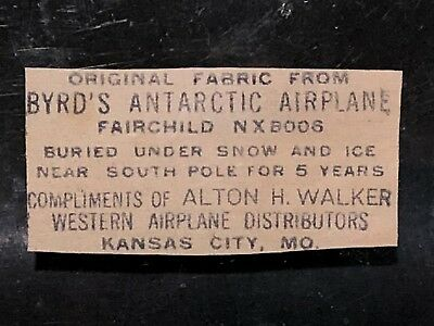 Admiral Byrd Antarctic Fairchild NX8006 Airplane Fabric Relic antique cn