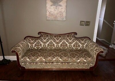 VICTORIAN SOFA Or Couch Floral Velvet Flowers Antique