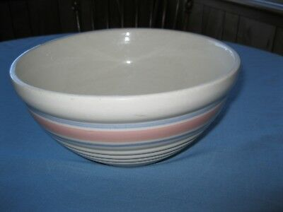 Vintage Pottery Large Mixing Bowl Blue, Pink Stripes  USA