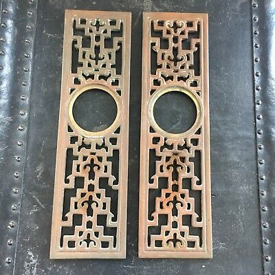 Rare VINTAGE MID CENTURY MODERN BRASS DOOR KNOB HOLLYWOOD REGENCY BACK PLATES