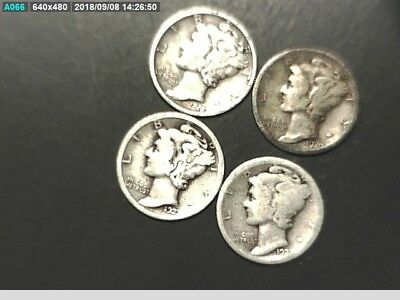 Set Of Mercury Dimes With A 1920 S,1923 S,1923 P,1928 P Silver Coins