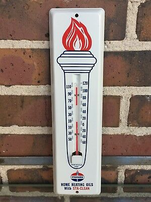 Vintage 1960 Standard Oil Gas Flame Torch Metal Wall Thermometer - Near Mint