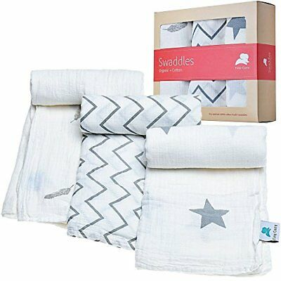 Muslin Swaddle Blankets | 100% Organic Cotton | Great For Baby Shower Gift || Su