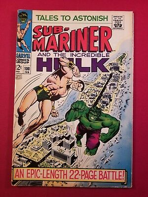 Tales To Astonish #100 Silver Age Hulk Vs. Sub-Mariner Key 1 Owner More Listed@@