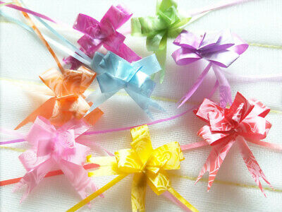 100pcs 12x200mm Pull Flower Ribbon Rose Bow Gift Wrap random color