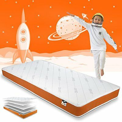 Simply Kids Foam Free Sprung Mattress, Steel Spring, White/orange, Single By Jay