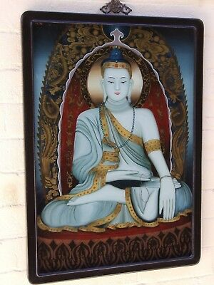 Antique Tibetan Chinese Sitting Buddha Painting  on Glass Mahogany Frame 1900's