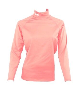Under Armour Womens Medium Fitted EVO Cold Gear Base Layer Pink Mock Neck