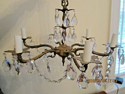 Vintage Spanish Brass 5-Arm Chandelier Crystal Prisms - BRASS ANTIQUE SPANISH Chandelier 8 Arm Victorian Glass - $195.00