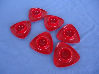 4 vintage retro red plastic triangle egg cups