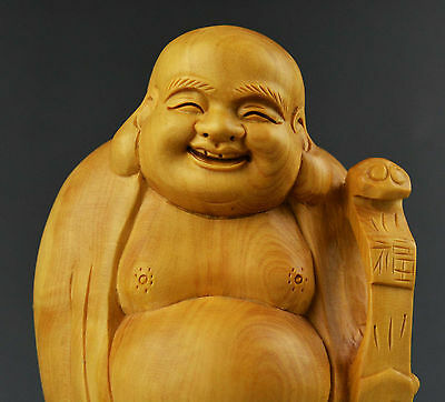 boxwood wood carving kwan yin happy smile Maitreya buddha statue figure ruyi art