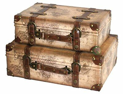 Old World Map Leather Vintage Style Suitcase With Straps, Wood, Light Brown, Set