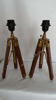 Pair Of Two Antique Brass Table Tripod Lamp Stand Reproduction Finishin