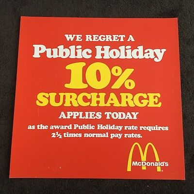 Vintage McDonalds Public Holiday 10% Surcharge Advertising Poster-Mancave