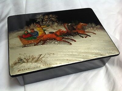 SALE! Vintage hand painted Russian Lacquer Box from  USSR signed winter scene