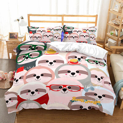 Kids Sloth Duvet Doona Quilt Cover Set Girls Boys Bedding Set Single Double Size