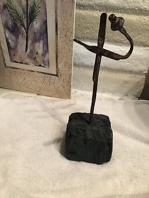 Primative Wrought Iron and Wood Rush Light Betty Lamp Holders 18th Century