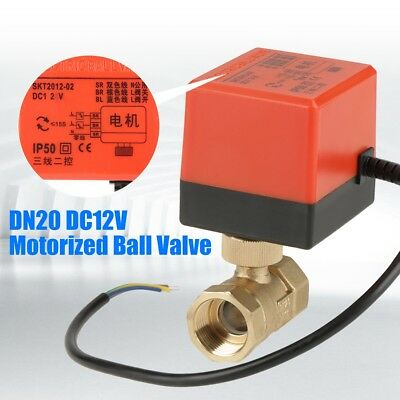 "DC12V G3/4"" DN20 2 Way Brass Motorized Actuator Ball Valve for Air Conditioner"