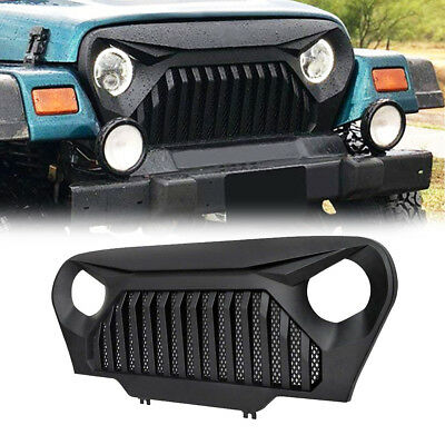 Xprite Angry Bird Grill Front Matte Black Grille Grid Accessories For 1997 2006  Jeep Wrangler TJ ...