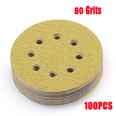 100 x 5in 80 Grit Sandpaper Sanding Disc Hook Loop Backed Pad Polishing
