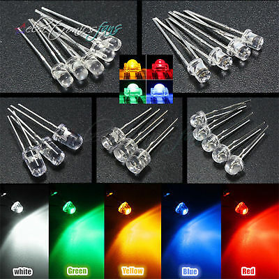 LED 3/5/8/10mm Yellow/Blue/Green/Red/White Color Clear/DIFFUSED Wide Angle Light