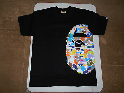 4849d863 Authentic Ape Bape Multi Camo Side Big Ape Head Tee T Shirt Black L 2Xl New