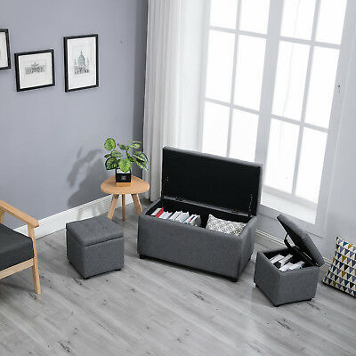 Awesome Samincom 3 Piece Storage Bench Cube Ottoman Set H44 X W84 X Ncnpc Chair Design For Home Ncnpcorg