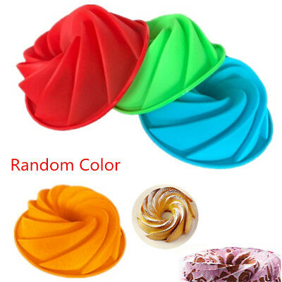 Big Swirl Silicone Butter Cake Pan Mold Baking Form Bakery Spiral Pumpkin Mould