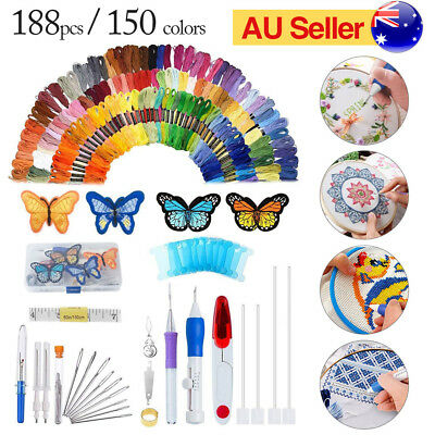 Magic DIY Embroidery Needle Pen Kit Set Craft Punch Knitting Tool With Threads