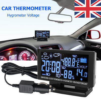 UK Digital Car Voltage Thermometer Hygrometer Weather Station Tool LCD Clock